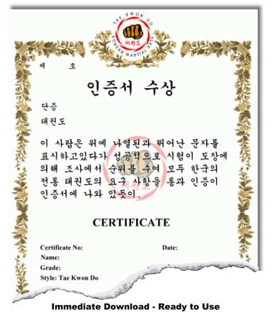 Korean martial arts certificate templates for Karate certificates templates free