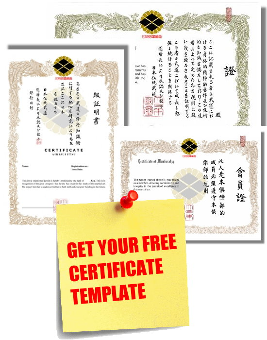 Free generic participation certificate for Martial art certificate templates free